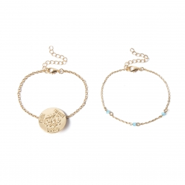European and American cross-border jewelry exaggerated geometric chain bracelet womens letter round card embossed simple crystal bracelet set