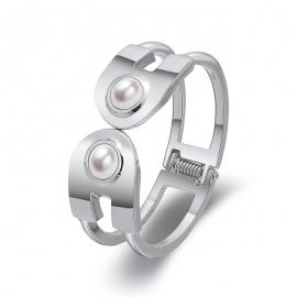 Minimalist Womens Jewelry Minimalist Line I-shaped Hollow Bangle U-shaped Pearl Double-head Opening Gold Plated Bracelet Wholesale
