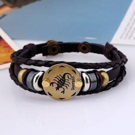 Twelve constellation leather bracelet birthday gift woven adjustable leather bracelet