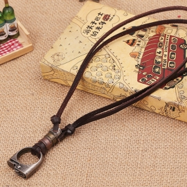 Alloy lighter accessories retro cowhide necklace fashion new leather necklace