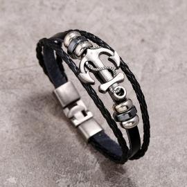 Anchor cowhide bracelet simple and versatile multi-layer woven leather bracelet