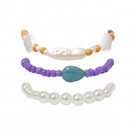 European and American cross-border jewelry, ethnic style, special-shaped pearl rice bead bracelet, star sweet geometric irregular bracelet