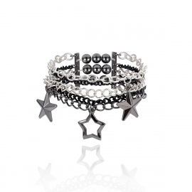 European and American cross-border jewelry simple geometric punk round bead bracelet female retro star chain multi-layer elastic bracelet