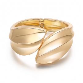 Bracelet women European and American popular elegant leaf symmetry alloy open spring bracelet