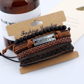Set mens cowhide bracelet European and American retro woven DIY leather bracelet
