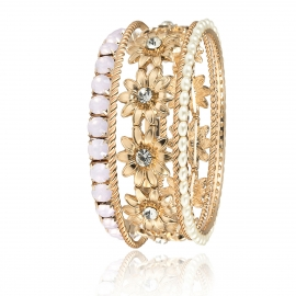 European and American cross-border jewelry set geometric spiral pattern jewelry female personality sun flower diamond pearl crystal bracelet