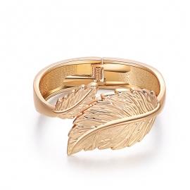 New European and American exaggerated bracelets, retro leaf shape bracelets, alloy bracelets, spring open bracelets