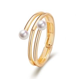 European and American Fashion Jewelry Minimalist Bracelet Multi-layered Lines Surrounding Double-headed Pearl Bracelet Opening Gold Plated Bracelet