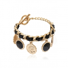 European and American cross-border jewelry retro punk cold style jewelry female personality geometric portrait round pendant bracelet
