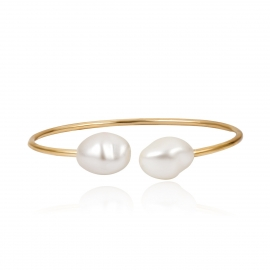 European and American cross-border jewelry, minimalist style, versatile adjustable jewelry, simple and special-shaped pearl open bracelet female