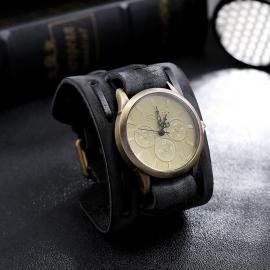 Jewelry retro distressed woven cowhide bracelet watch wide leather punk mens watch bracelet