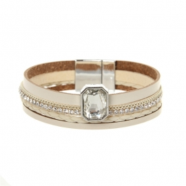 European and American Bohemian Leather Bracelet Multilayer Narrow Edge Zircon Bangle Jewelry