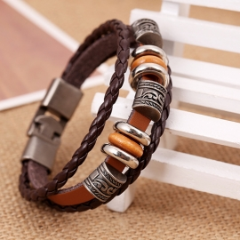 Punk style cowhide bracelet simple woven buckle leather bracelet