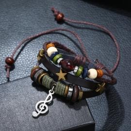 Beaded leather retro bracelet alloy musical notes cowhide bracelet