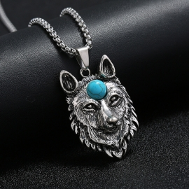 Domineering simple alloy wolf head mens necklace personality student accessories skull necklace
