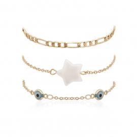 European and American cross-border jewelry simple chain cold geometric jewelry female personality pearl star eye set bracelet