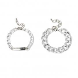 European and American cross-border jewelry wild hip-hop metal chain geometric jewelry square letter nameplate set bracelet female