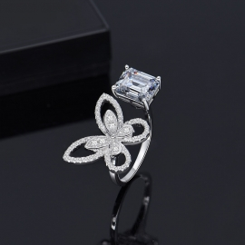 Elegant high quality fashion zircon S925 silver ring width size adjustable