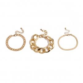 European and American cross-border jewelry retro personality punk metal jewelry women mix and match thick chain snake bone chain set bracelet
