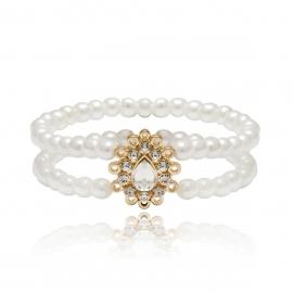 European and American cross-border jewelry, wild geometric handmade multi-layer jewelry female temperament pearl drop-shaped diamond bracelet