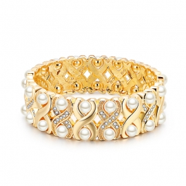 New European and American hot style alloy retro double row pearl bracelet baroque style bracelet