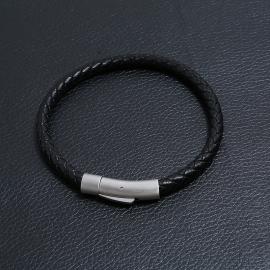 Jewelry simple woven leather bracelet European and American retro mens stainless steel imitation cowhide bracelet bracelet