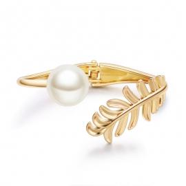 Fashion jewelry fashion elegant gold-plated bracelet leaves pearl asymmetrical ladies boutique bracelets