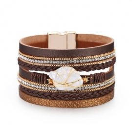 Bohemian fashion pearl tied rope braided bracelet multi-layer leather with diamond bracelet Amazon explosive bracelet