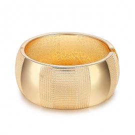 Foreign trade models Europe and America retro minimalist bracelet drum-shaped embossed bracelet wave pattern wide side gold-plated open bracelet wholesale
