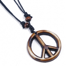 Vintage hand-woven resin peace sign mens necklace