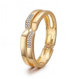 Simple word double layer symmetrical bracelet ladies light luxury diamond-studded smooth bracelet European and American new open bracelet