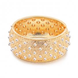 Fashion new bracelet ladies bracelet wholesale baroque retro pattern bracelet pearl drum wide side bracelet