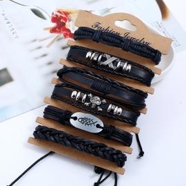 Woven suit leather bracelet cross-border retro European and American mens leather bracelet jewelry
