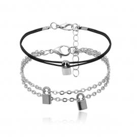 European and American cross-border jewelry, geometric simple pendant handmade jewelry women, retro creative lock-shaped chain mixed bracelet