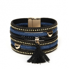 Foreign trade hot sale bohemian fashion multi-layer denim fringed wide-brimmed bracelet scenic souvenirs