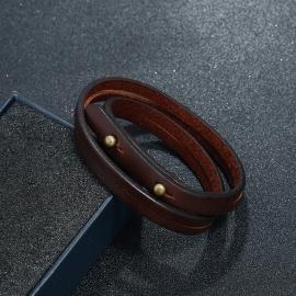 Retro simple two circle cowhide bracelet mens jewelry fashion wild punk rock leather bracelet