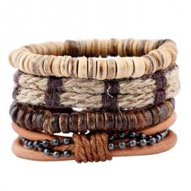 Simple retro suit bracelet diy woven cowhide bracelet coconut shell bracelet mens hemp leather bracelet