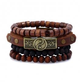 Simple retro alloy gossip cowhide bracelet bracelet leather bracelet multi-layer suit bracelet