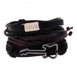 Simple retro woven cowhide bracelet alloy guitar leather bracelet multi-layer suit
