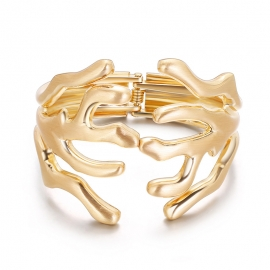 Alloy bracelet European and American fashion exaggerated special-shaped branch wide spring open bracelet