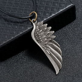 Vintage Alloy Angel Wing Mens Necklace Simple Wing Pendant