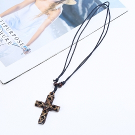 Jewelry resin cross necklace wholesale jesus cross wax line necklace