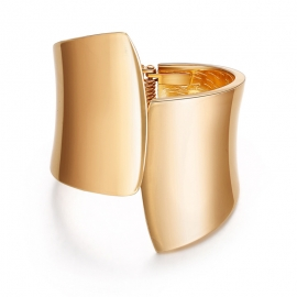 European and American popular simple mirror fan-shaped symmetrical opening spring wide side bracelet