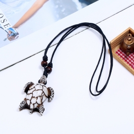 Vintage hand-woven resin turtle mens necklace