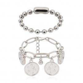 European and American cross-border jewelry personalized round bead chain geometric jewelry female simple star embossed pendant set bracelet