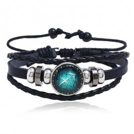 Luminous 12 constellation leather bracelet personality woven starry sky bracelet 12 constellation leather bracelet