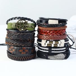 Vintage woven 12-piece cowhide bracelet mens diy leather combination bracelet bracelet