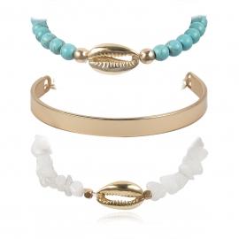 European and American cross-border jewelry, personalized turquoise geometric beaded bracelet, creative original stone shell metal C-shaped bracelet