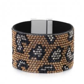 Bracelet Hot Selling Source Europe and America Wide Bracelet Full Rhinestone Leopard Bracelet Cross Button Dress Bracelet