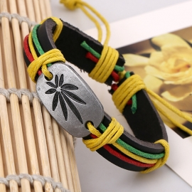 Red yellow green big maple leaf leather bracelet bracelet leather jewelry